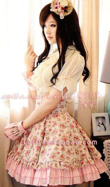 MissMoe-Lolita dress-waisted double pumping court sense the half skirt [fog pity] before midfielder cross ribbons - Taobao