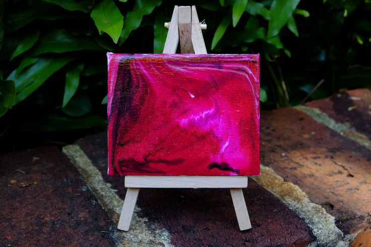 Mini original abstract painting on canvas with mini easel stand, pink, mini canvas, acrylic, hand poured by Traceyleeartdesigns on Etsy