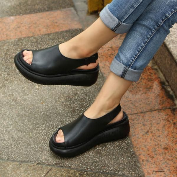 2377b96f3cb2 Summer Casual Cow Leather Shoes Black Wedge Heel Sandals