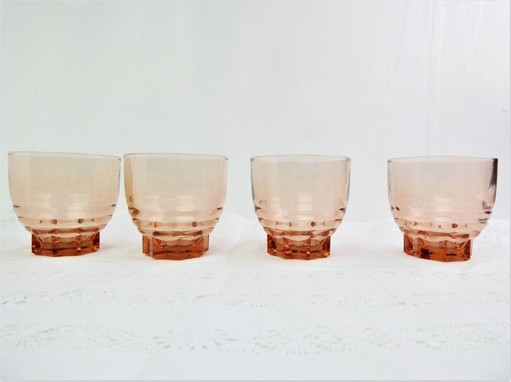 Pink drinking glasses / tumblers, four, salmon pink pressed glass, French, art deco, stackable - 150 ml by BlindDogVintage on Etsy