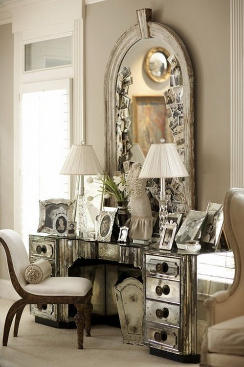 Art Deco dressing table- I like how a supersized mirror was used to make this lux