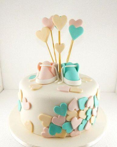 Idéias de lindos bolos para chá de revelação do sexo do bebê 39