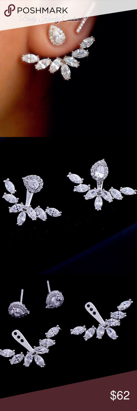 """Flower Ear Jacket Bridal Cz Ear Jacket Spike Flower Ear Jacket Cz Bridal Earring Jacket Spike Front Back Earrings.Prong Set Cubic Zirconia Stones in .925 Sterling Silver. Wear them 2 ways.Wear the stud alone or with the ear jacket that goes on the back of the post.All items Are Handmade Upon Order. Production Time approx 2 weeks"""" *Unique One of a Kind Jewelry by Body Kandy Couture. Please ask all Question's prior to Purchasing.All Items are non-refundable but we make exceptions depending on…"""