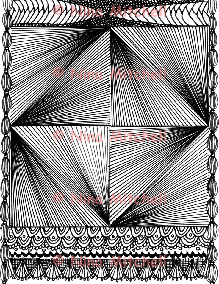 NM - bw - Triangle illusions zentangle
