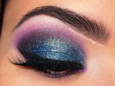 Glitter- smokey blue eyeshadow tutorial | AmazingMakeups.com