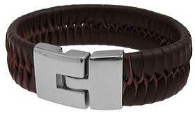 Brown Woven Leather Bracelet by Cudworth