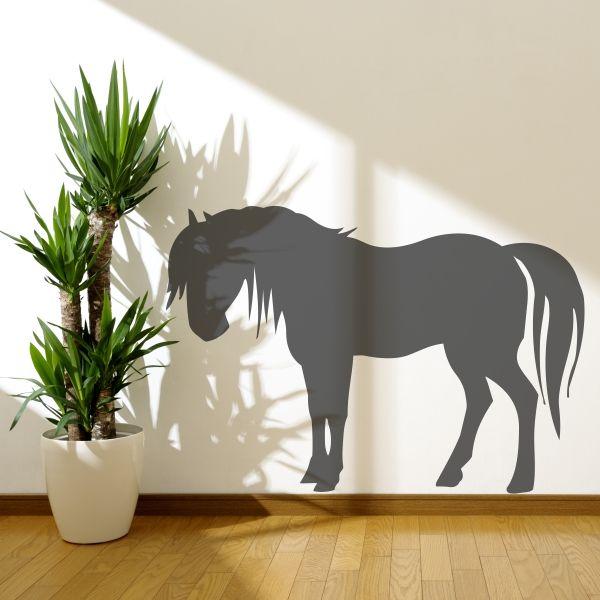 Fantástico vinilo decorativo de la silueta de un bello caballo. Masquevinilo.com