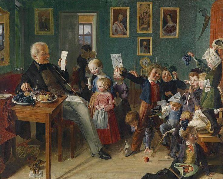 """Schulklasse in Tirol"". circle of Eduard Ritter (1808–1853). Oil on canvas."