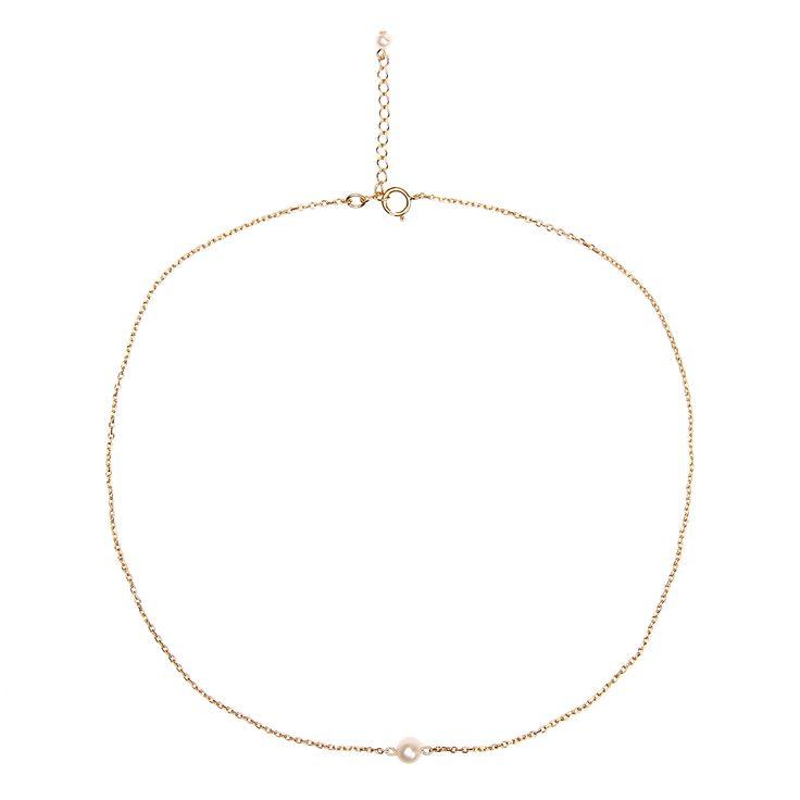 Collier composé d'une perle de culture de 5-6mm montée sur une chaîne plaquée or.Le fermoir se ...
