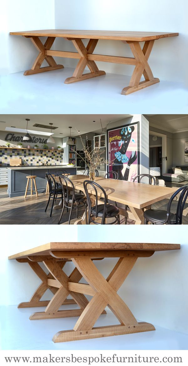 Sawbuck Oak Kitchen Table Makers Bespoke Furniture Dining Tables Handmade To Order