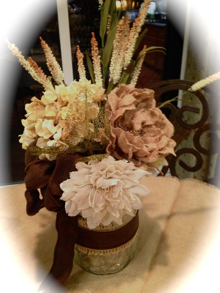 Burlap flower centerpiece mason jar flowers