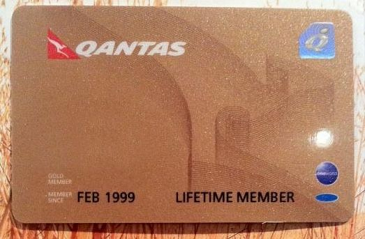 A real Qantas Lifetime Gold membership card
