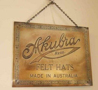 Detailed brass Akubra Felt Hats advertising sign C.1910