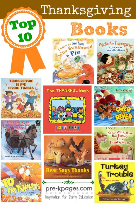 Top 10 Thanksgiving Books for Preschool and Kindergarten.  The best books to read aloud to young children.