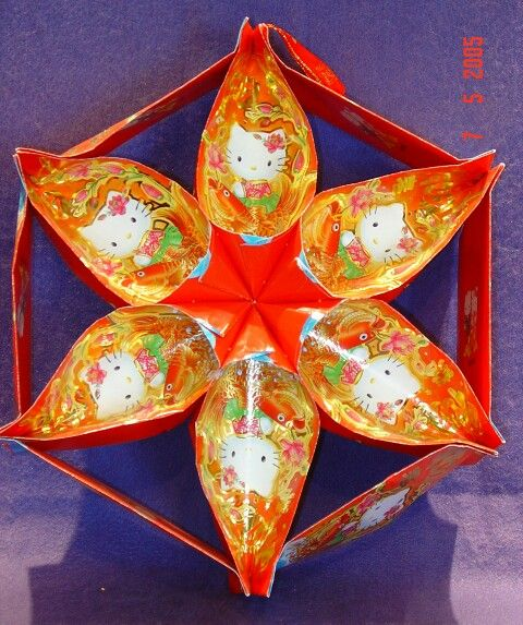 Red packet hello kitty 6 point star chinese lantern for Ang pow packet decoration