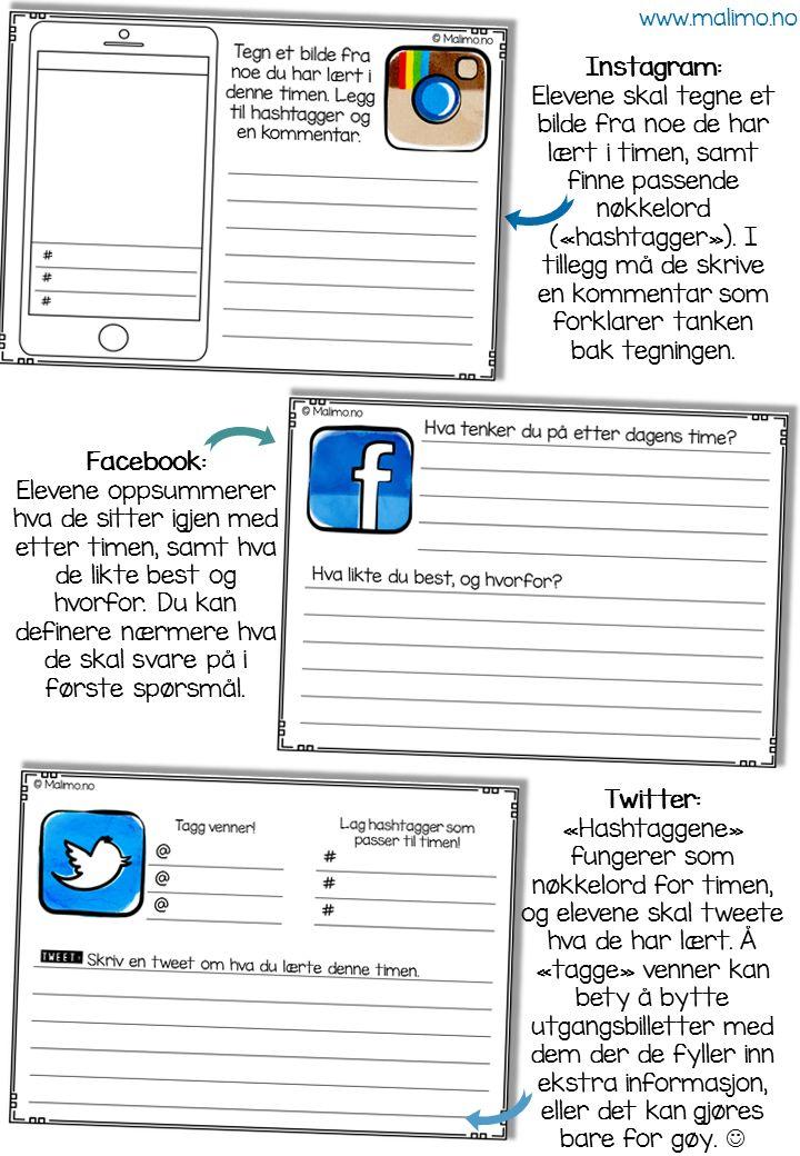 Malimo.no - utgangsbilletter basert på sosiale media! Perfekt for vurdering for læring i praksis!