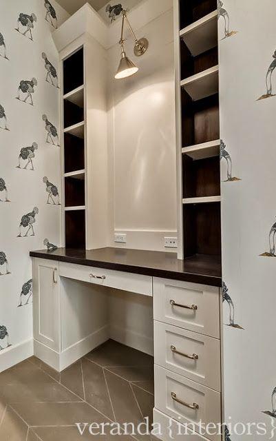 """note light fixture for over """"gallery"""" area in family room Hillhurst {Custom} Mud Room Desk // Veranda Estate Homes & Interiors"""