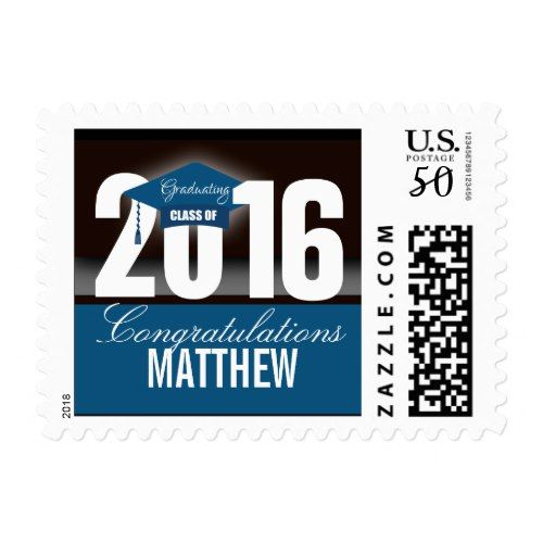blue white grad cap class year postage formal graduation announcement pinterest