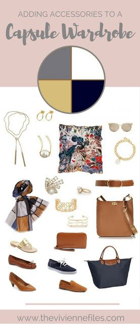 How to accessorize a capsule wardrobe in an 'all neutral' color palette of Navy, Grey, Camel, and white.