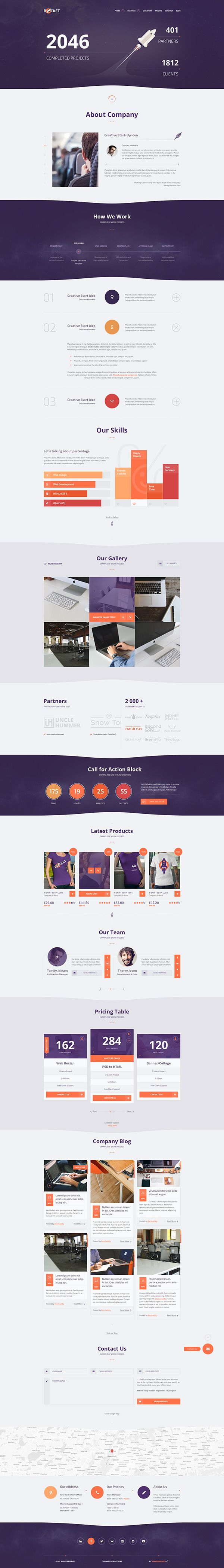 Rocket - Creative Multipurpose Template, UI concept design by Web Create.Me on Behance.