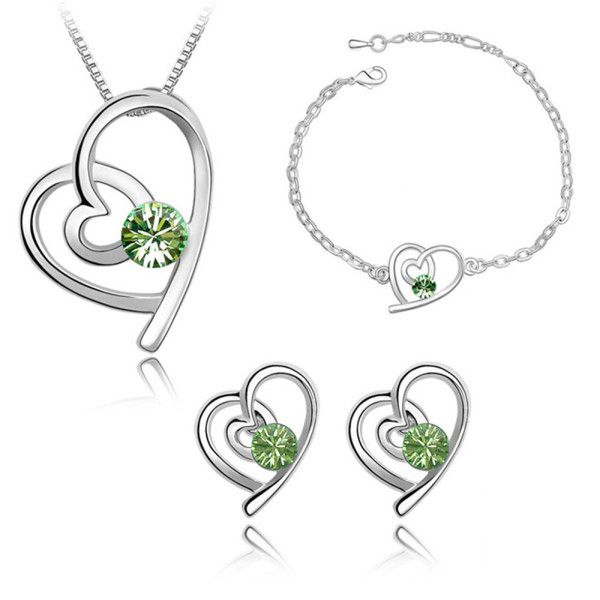 Beora Platinum Plated Green Crystal Heart Necklace Set with Bracelet by Trendymela.com