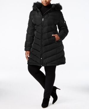 Calvin Klein Plus Size Faux-Fur-Trim Puffer Coat - Black 1X
