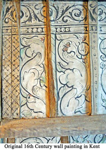 16th Century Wall Painting.  Repeated patterns  (rather than a landscape for example) were painted onto the lime plaster but also sometimes on to brick work and wood.  Natural colours used to create bold designs were favoured.