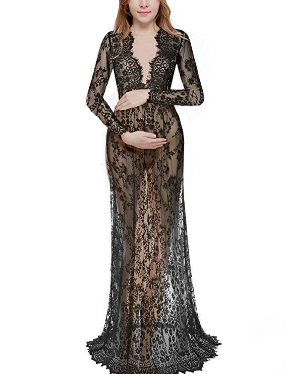0a1a7e682e09 Saslax Maternity Sexy Deep V-Neck Long Sleeve Lace See-Through Maxi Dress  for Beach at Amazon Women's Clothing store: