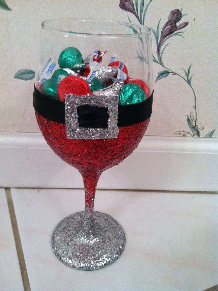 Glitter Wine Glass - Santa Style