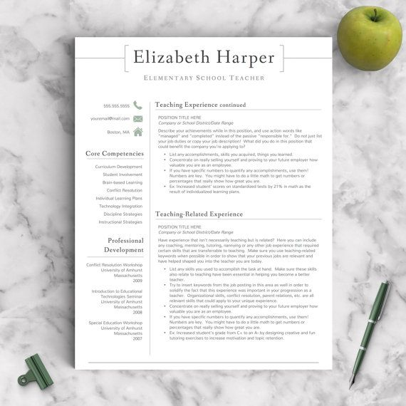 Teacher Resume Template for Word & Pages 1 2 by LandedDesignStudio