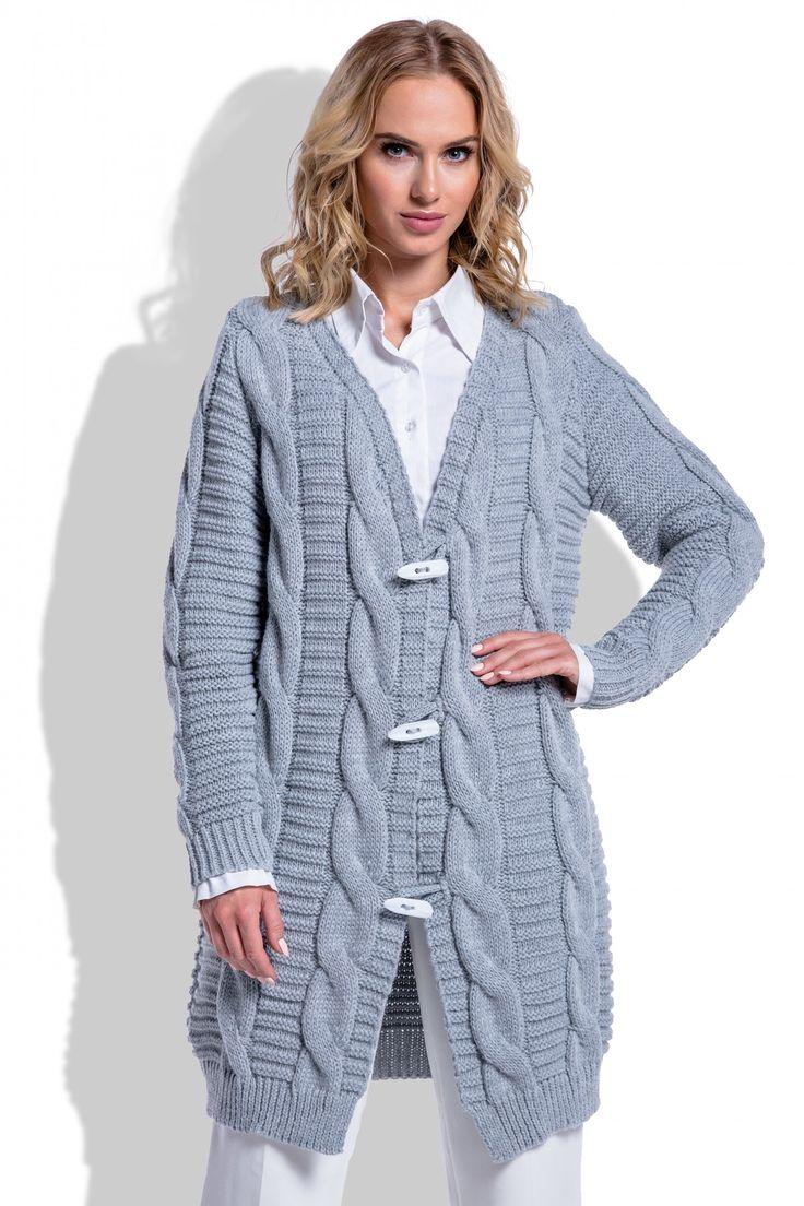 Cardigan de dama tricotat gri casual clasic cu impletituri decorative lungime medie   #cardigantricotat #cardigandamalana