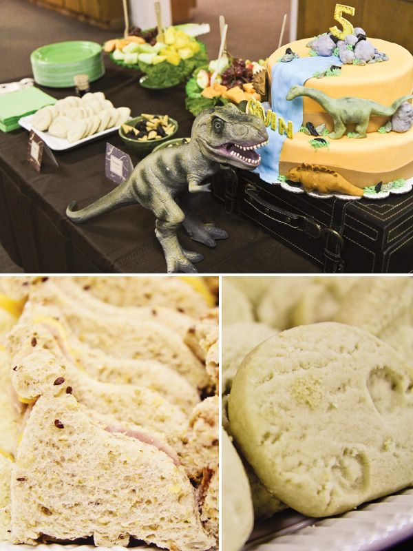 Food: Prehistoric labeled water, Lava Juice. Dinosaur shaped sandwiches. Fossil cookies.  Game for Adults: Dinosaur bingo