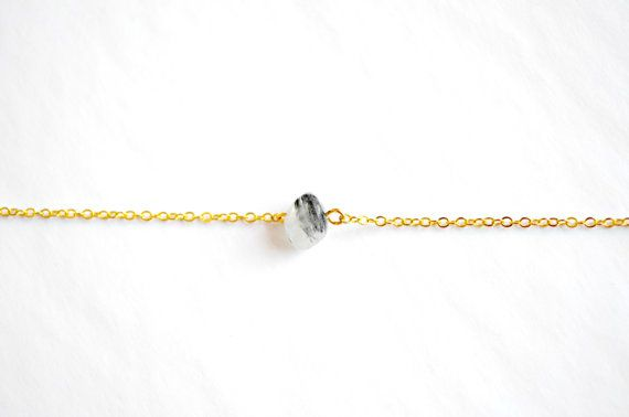 Rutilated Quartz Bracelet Dainty Gold Chain by IndigoLizard