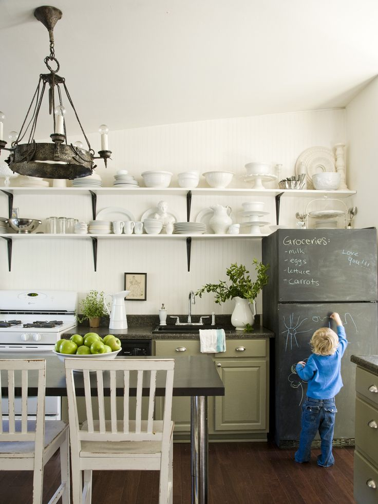 DIY Chalkboard Fridge >> http://blog.diynetwork.com/maderemade/2014/01/23/chalkboard-crafts-even-you-havent-tried/?soc=pinterest: Idea, Kitchens Design, Cabinets Colors, Open Shelves, Interiors, Chalkboards Paintings, Chalk Boards, White Dishes, Chalkboards Fridge