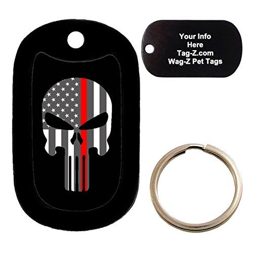 Custom Engraved Pet Tag - THIN RED LINE FLAG EVIL SKULL - Dog Tag - Tag-Z Wag-Z ** See this great image @