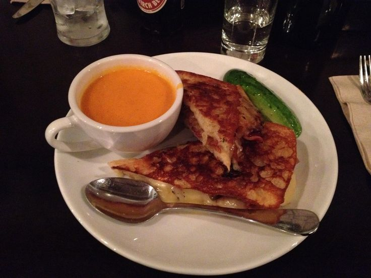 Friedman's Lunch (Chelsea Market, NY) • Grilled Cheese Sandwich —gruyere and white cheddar, caramelized onions, bacon, grilled ciabatta; add cup of [creamy] tomato soup