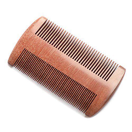 EQLEF® Barbe peigne en bois, Bois de santal rouge pas de peigne à la main statique à dents larges, bois de peigne à moustache: MAIN 100%…
