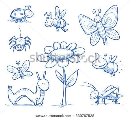 Set of cute little cartoon insects and small anima…