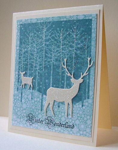 handmade card: Winter Wonderland .... blues and white ... die cut deer ... luv the sparkle ... Hero Arts