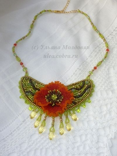 "Beaded necklace ""Summer poppy"". Beaded flower - poppy.  Beadwork by Ulyana Moldovyan."