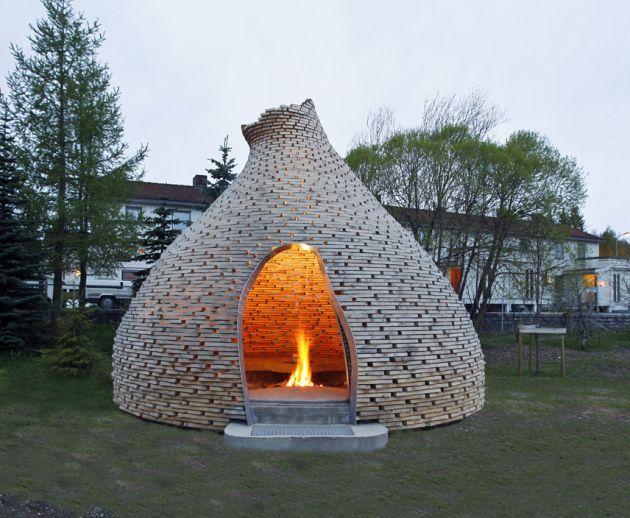 Haugen/Zohar Architects have designed an outdoor fireplace in Trondheim, Norway.