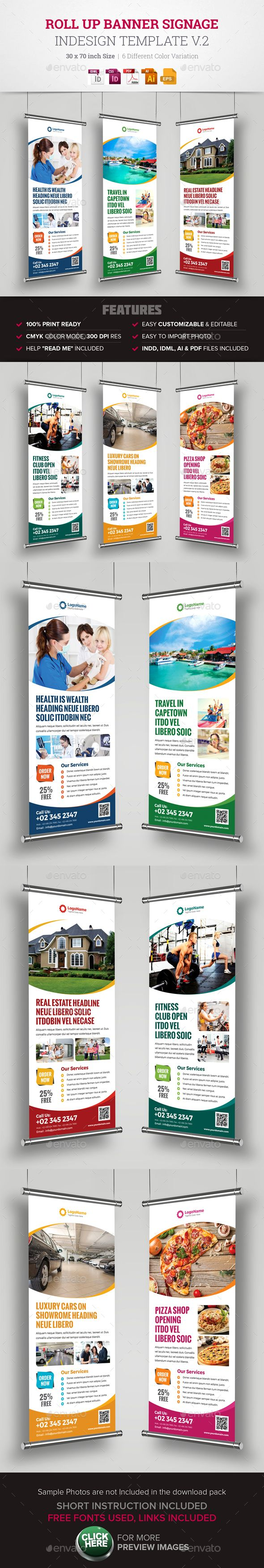 Roll-Up Banner Signage Template InDesign INDD, Vector EPS, AI #design Download: http://graphicriver.net/item/roll-up-banner-signage-indesign-v2/14231481?ref=ksioks