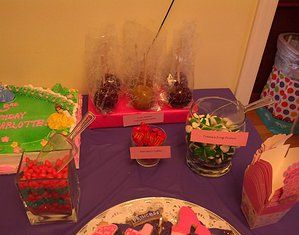 Princess Candy Buffet including Ariel's Friend Flounder (gummy fish), Tiana's Frog Prince (gummy frogs), Snow White's Unpoisoned Apples (candy and caramel apples), Cinderella's Magic Pumpkins (mallow creme pumpkins), etc.