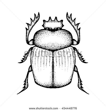 Hand drawn vector scarab or dung beetle. Drawn by small dots. Pointillism. Isolated on white background #pointillism