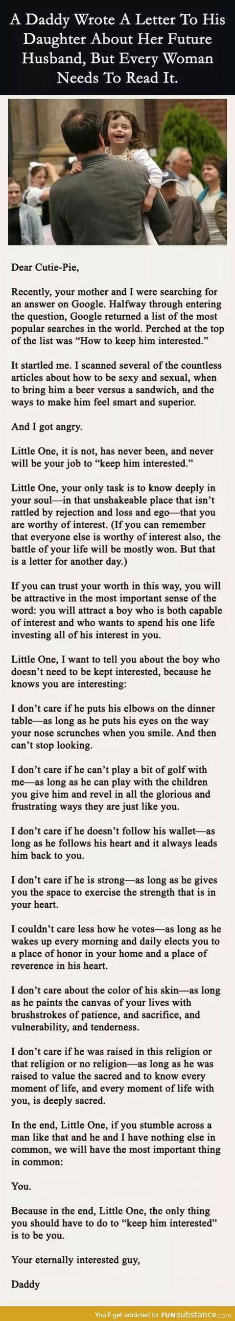 A letter from a father to his daughter