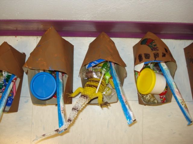 Dutch clogs made out of poptart boxes.  My kindergartners created these for Sinterklass from Holland to fill with goodies.  On December 5, Dutch children place their shoes outside.