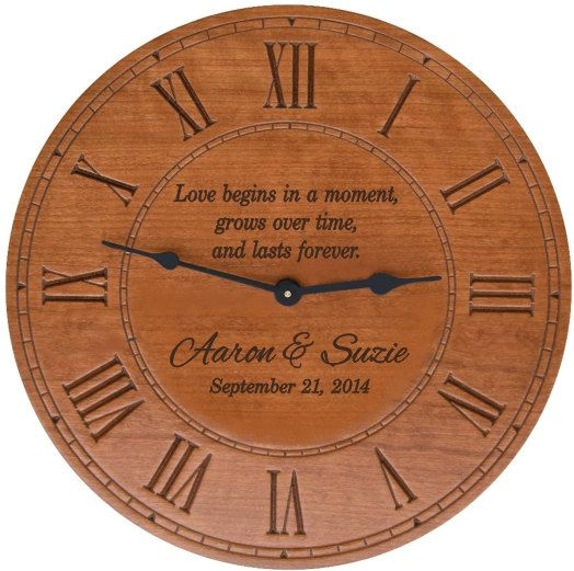 Round Cherry Finish Wall Clock with Personalization for Wedding Gift,  Anniversary Gift, or a New Home