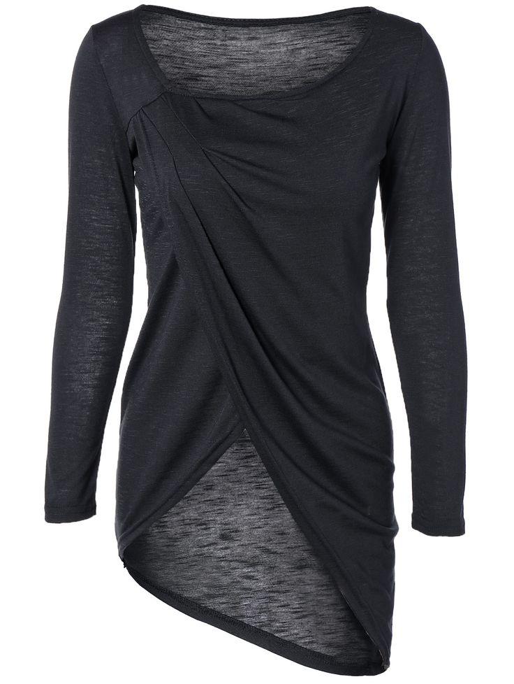 Scoop Neck Asymmetric Wrap T-Shirt
