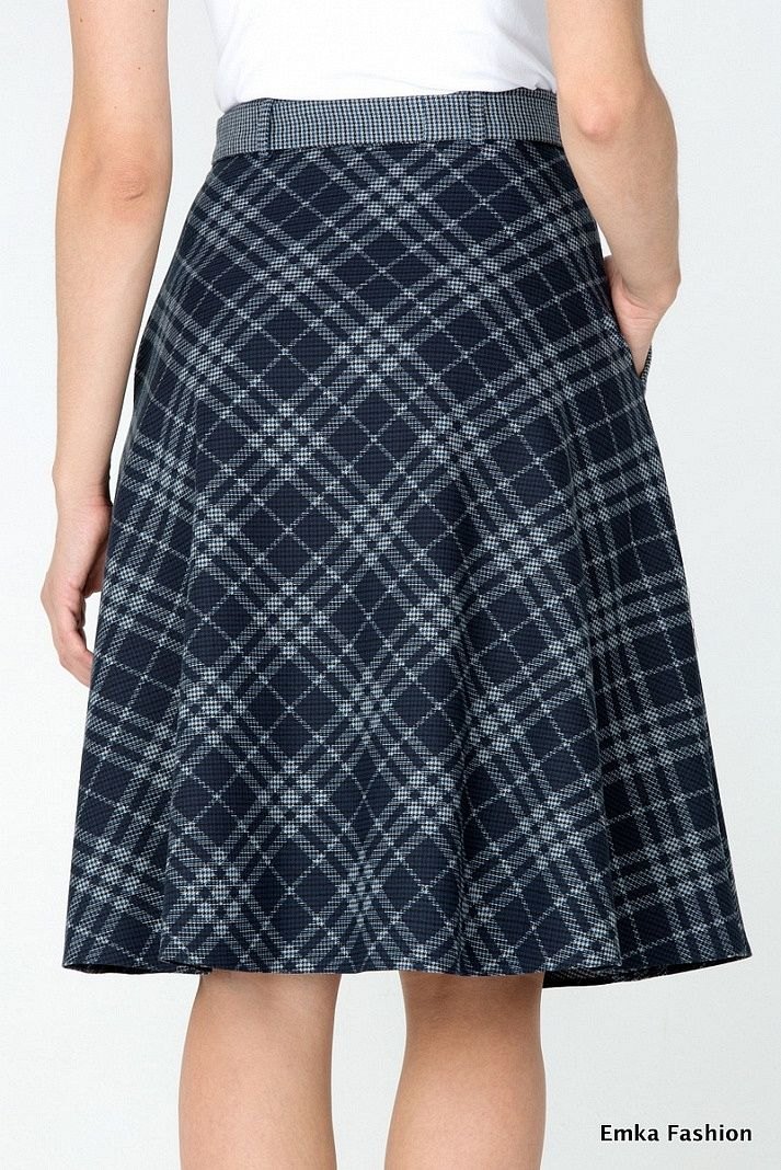 Клетчатая юбка Emka Fashion 407-illuzia - Malinka-fashion.ru
