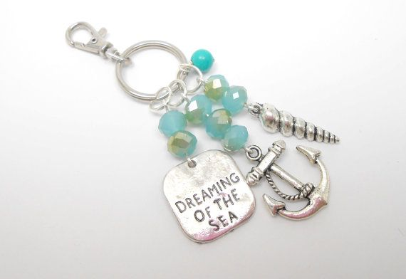 This delightful keyring is sure to add a bit of summer colour to any bag or keychain. A turquoise blue coloured bead hangs among faceted blue crystals